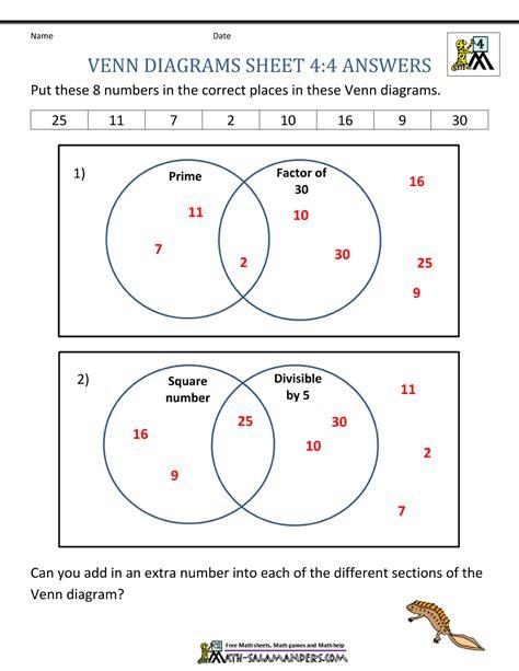 venn diagram worksheet  grade