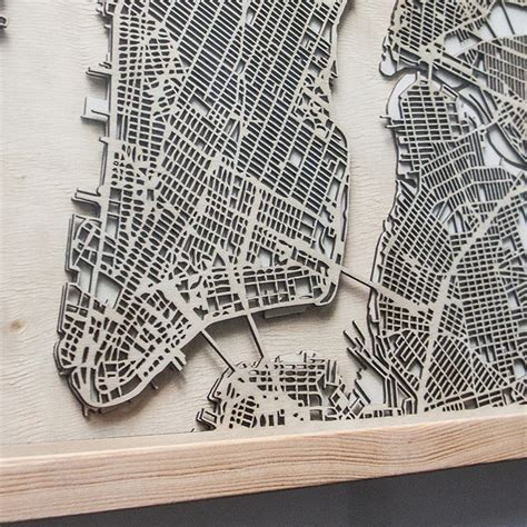 wood map wall minimalist city map wall is made from layers of laser 1600