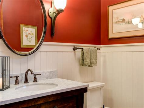 Beadboard Powder Room : Red Powder Room Photos