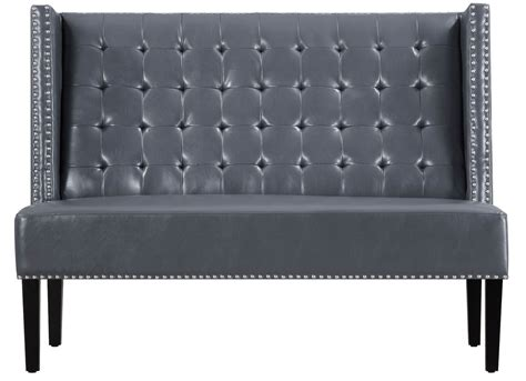 Halifax Gray Leather Banquette Bench From Tov (63116-gray