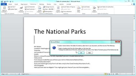 microsoft word of contents ms word of contents tutorial