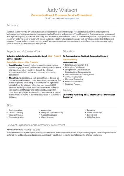 Sle Resumes For Customer Service by Customer Service Cv Exles And Template