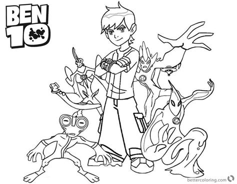 Ben 10 Coloring Pages Characters Black And White Clipart
