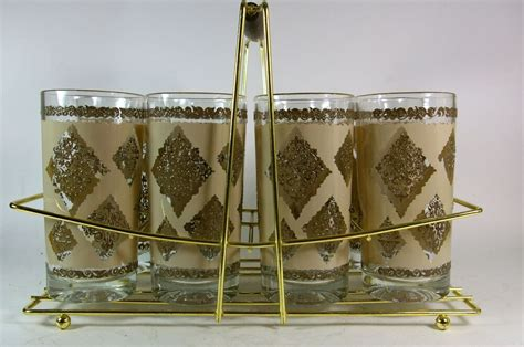Mid Century Drinking Glasses Set Of 8 Hollywood Regency