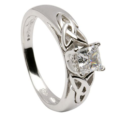 princess cut celtic engagement ring with inset