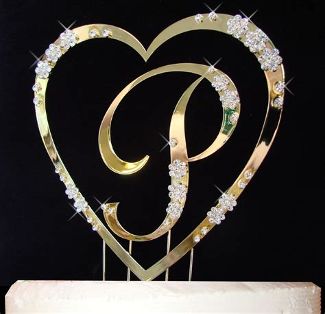 gold single heart  monogram crystal cake topper set