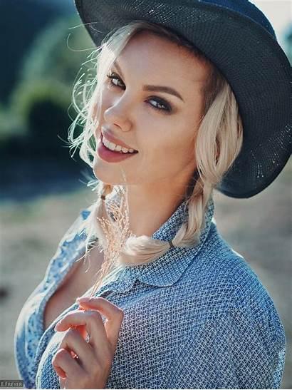 Smiling Portrait Blonde Freyer Evgeny Hat Wallhere