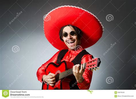 mexican guitar player  red stock image image