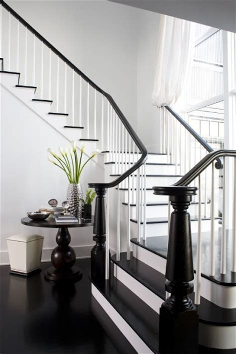 Black Staircase Banister by Black And White Stair House Chic