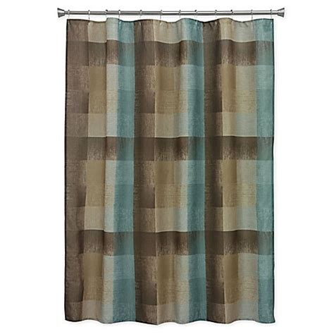 brown and blue shower curtain bacova fresh flannel shower curtain in brown blue bed