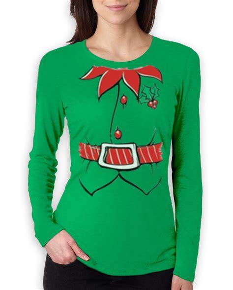 elf tuxedo costume christmas women long sleeve t shirt
