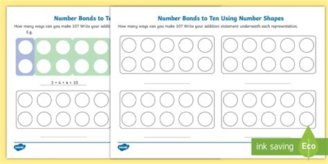 new number bonds to 10 using number shapes worksheet numicon number