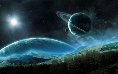 Space Saturn Planet Night Rings Satellite Background