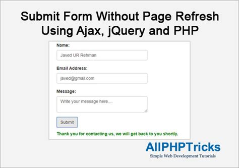 submit form without page refresh using ajax jquery and