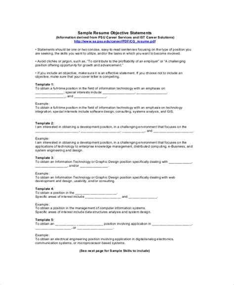 Sle Resume Objective Statement by 9 Resume Objective Sles Exles Templates
