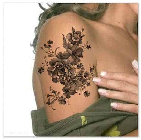 temporary tattoo shoulder flower ultra thin realistic etsy