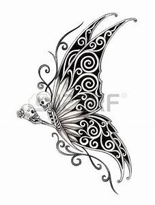Art skull butterfly tattoo Hand drawing on paper Stock ...