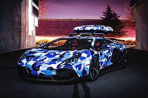 Pc Bape Blue Camouflage Lamborghini Aventador