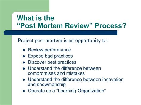 post mortem review process powerpoint