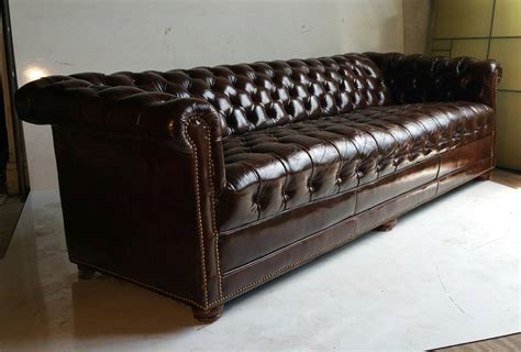 Brown Leather Button Tufted Chesterfield Sofa, Classic At