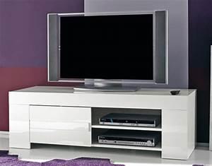 Meuble Tv Blanc Laqué : meuble tv messina laque blanc laque blanc l 140 x h 45 x p 50 ~ Teatrodelosmanantiales.com Idées de Décoration