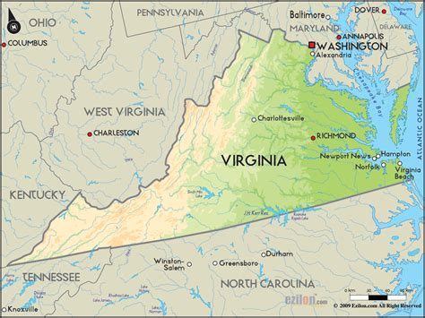 geographical map  virginia  virginia geographical maps