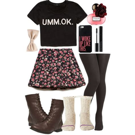 Cute girly casual teen outfit spring summer crop top skater skirt boots bow tights socks ...