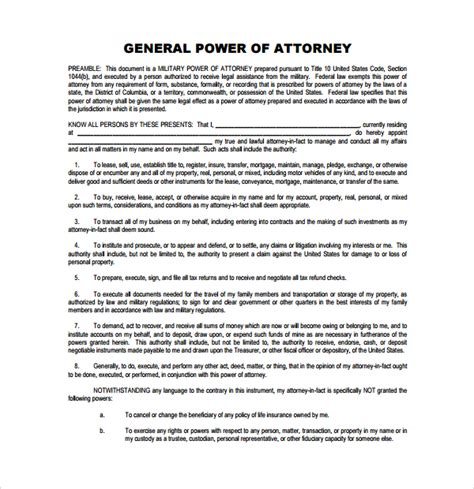 general power of attorney template 7 general power of attorney forms sles exles formats sle templates