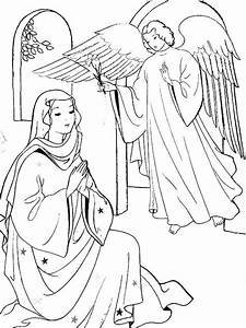 Angel Appears To Mary Coloring Page Sunday School