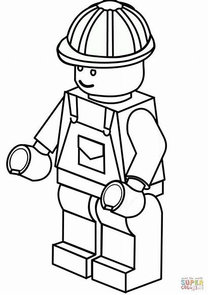 Coloring Lego Construction Worker Pages Printable Drawing