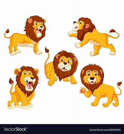 Lions Posing Different Vector Vectorstock Cartoon Lion
