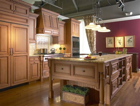 red accent wall  country kitchen traditional kitchen