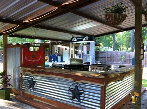Awesome Outdoor Bar And Grill Area Under Protective Shed