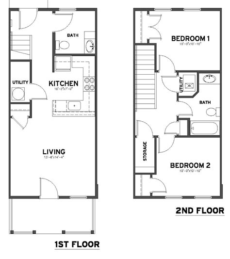 2 Bedroom 1 Bath Floor Plans by 2 Bedroom 1 1 2 Bath Townhome Plowfield Square