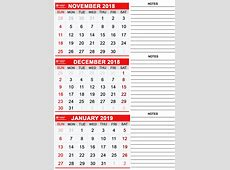 Printable November 2018, December 2018 & January 2019