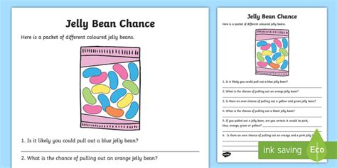 year 2 jelly bean chance worksheet activity sheet