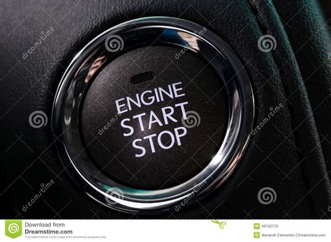 Car Engine Start And Stop Button. Stock Photo