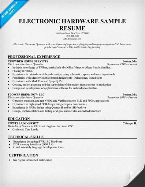 Electronic Tech Resumes by Resume Electronics Engineer 3years Experience Electronics