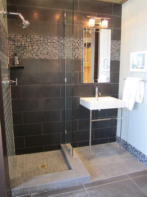 Black Ceramic Tile  Contemporary  Bathroom Sherwin