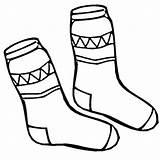 Socks Coloring Winter Pair Season Fun sketch template