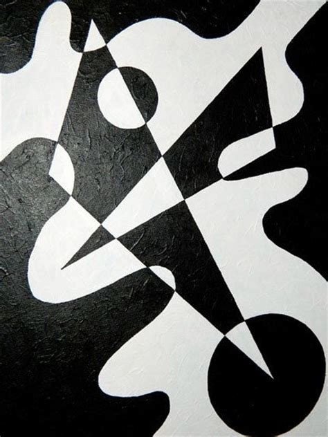 Black And White Geometric Abstract Shape Painting By