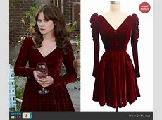 WornOnTV Jess's red velvet Thanksgiving dress on New Girl