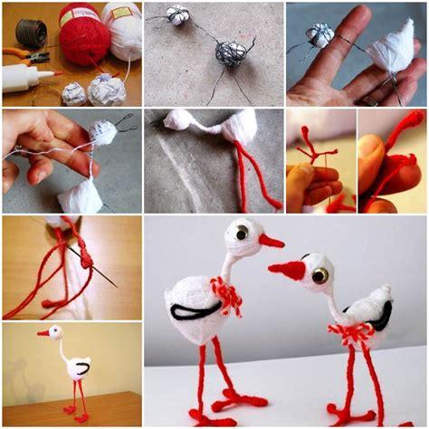 diy adorable wool yarn heron toys