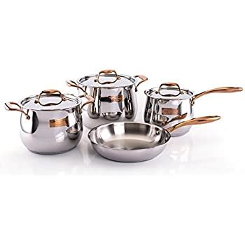 amazoncom korkmaz astra  piece high  stainless steel cookware set cookware sets kitchen