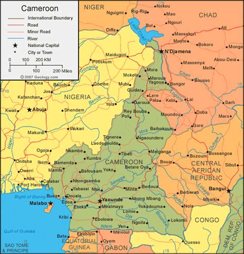 Cameroon Map and Satellite Image