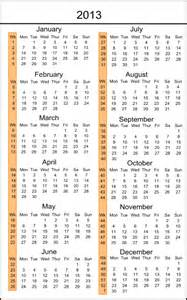 2013 Calendar with Week Numbers