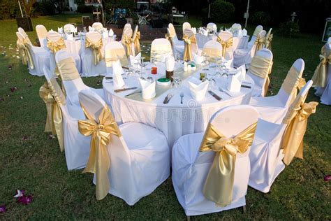 outdoor party tables stock photo image  golden grass