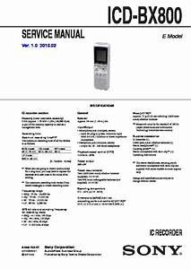 Sony Icd-bx800  Icd-bx800m Service Manual
