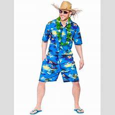 Mens Hawaiian Beach Party Blue Palm Fancy Dress Costume