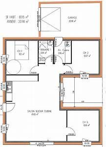 Plan Maison U : plan maison plain pied 3 chambres en u plan maison ~ Dallasstarsshop.com Idées de Décoration